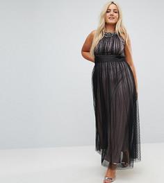 Сетчатое платье макси с декорированным верхом Little Mistress Plus - Черный