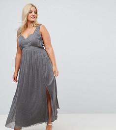 Трикотажное платье макси цвета металлик с запахом Little Mistress Plus - Серебряный
