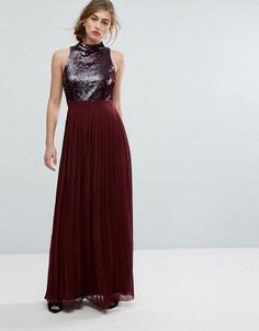 Платье макси с пайетками и плиссировкой на юбке Little Mistress - Красный