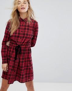 Платье-рубашка в клетку с поясом Jack Wills - Красный