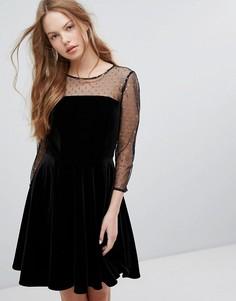 Приталенное платье со свободной юбкой и принтом в горошек с эффектом металлик Jack Wills - Черный