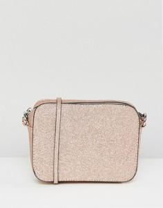 Блестящая сумка через плечо ASOS - Розовый