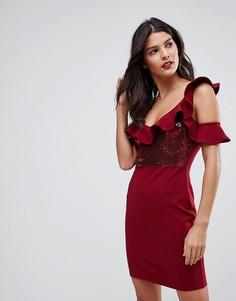 Платье мини с пайетками и оборками NaaNaa - Красный