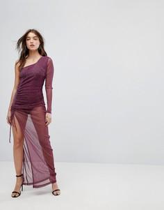 Сетчатое платье макси на одно плечо со сборками и блестками NaaNaa - Красный