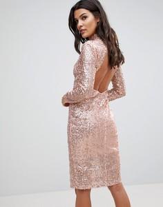 Платье миди с пайетками и открытой спиной NaaNaa - Золотой