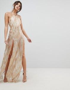 Платье макси с пайетками и двумя разрезами до бедра NaaNaa - Золотой