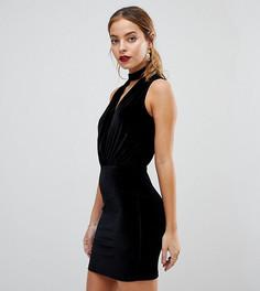 Бархатное облегающее платье ASOS PETITE - Черный