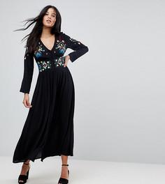 Платье макси с вышивкой ASOS TALL - Черный