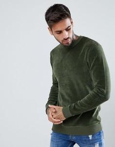 Обтягивающий велюровый свитшот ASOS - Зеленый