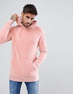 Удлиненный обтягивающий велюровый худи ASOS - Розовый