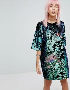 Платье-футболка с пайетками RAGYARD - Зеленый