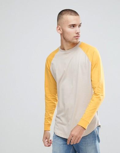 Свободная футболка с длинными рукавами реглан с манжетами ASOS - Мульти