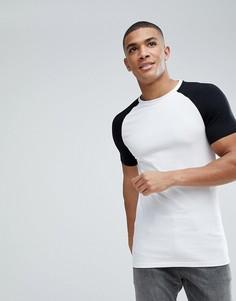 Длинная обтягивающая футболка с рукавами реглан ASOS - Мульти