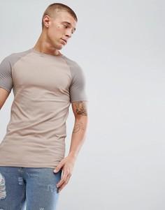 Длинная бежевая футболка с рукавами реглан ASOS - Мульти