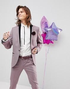 Пиджак-смокинг супероблегающего кроя Noose & Monkey - Фиолетовый