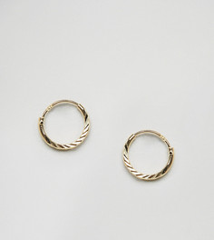 Позолоченные серебряные ограненные серьги-кольца ASOS - Золотой
