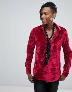 Приталенная бархатная рубашка Noose & Monkey - Красный