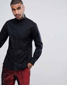 Рубашка зауженного кроя с лазерной резной отделкой Noose & Monkey - Черный