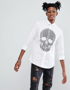 Приталенная рубашка с флоковым принтом черепов Noose & Monkey - Белый