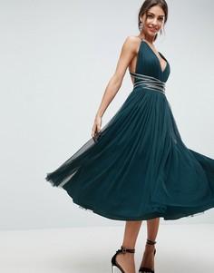 Платье миди для выпускного из тюля с лентой ASOS PREMIUM - Зеленый
