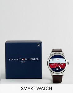 Гибридные смарт-часы с коричневым кожаным ремешком Tommy Hilfiger 1791406 - Коричневый