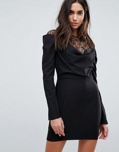 Платье мини с кружевной вставкой и драпировкой PrettyLittleThing - Черный