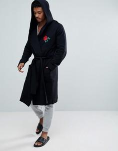Халат с капюшоном и вышитой розой ASOS - Черный