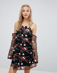 Платье А-силуэта с прозрачными рукавами и цветочной вышивкой Kiss The Sky - Черный