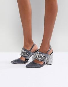 Туфли на каблуке с отделкой камнями ASOS PERFECT COMBO - Серый