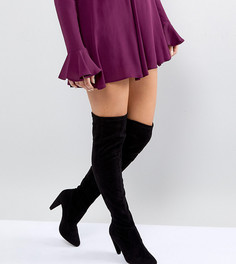 Ботфорты для широкой стопы на конусообразном каблуке New Look - Черный