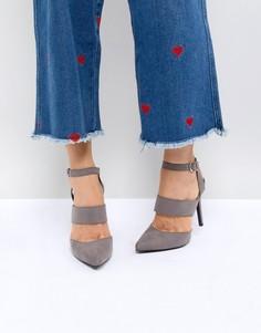 Туфли-лодочки на каблуке с острым носком и ремешками New Look - Серый