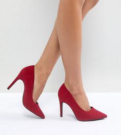 Туфли-лодочки для широкой стопы на высоком каблуке с заостренным носком New Look - Красный