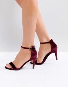Бархатные босоножки на каблуке из 2 частей New Look - Красный