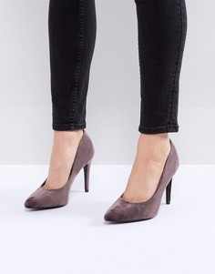 Бархатные туфли-лодочки с острым носом New Look - Серый