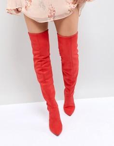 Ботфорты на каблуке с острым носом New Look - Красный