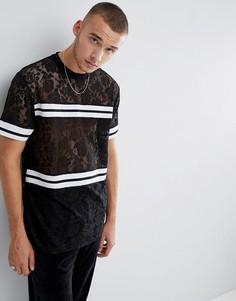 Длинная кружевная футболка с контрастной отделкой ASOS - Черный