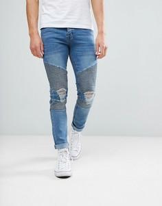 Байкерские джинсы скинни boohooMAN - Синий