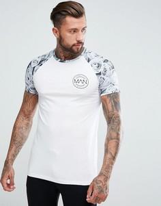 Серая футболка с рукавами реглан boohooMAN - Серый