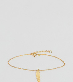 Браслет из позолоченного серебра с подвеской-пером ASOS - Золотой