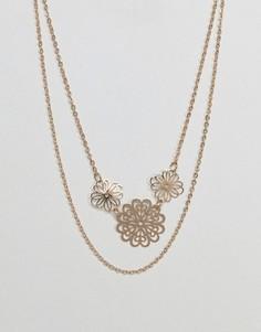 Ожерелье в несколько рядов с подвесками-дисками ASOS - Золотой