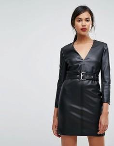 Облегающее платье из искусственной кожи с ремнем Ivyrevel - Черный