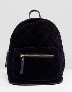 Стеганый бархатный рюкзак Pieces - Темно-синий