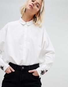 Рубашка с вышивкой на манжетах Pieces - Белый