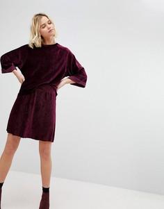 Бархатная короткая расклешенная юбка Pieces - Красный