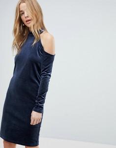 Бархатное платье мини с блестками и вырезами на плечах Pieces - Темно-синий