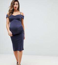 Платье-футляр миди с вырезом лодочкой ASOS MATERNITY - Темно-синий