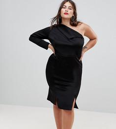 Платье миди на одно плечо с разрезами ASOS CURVE - Черный