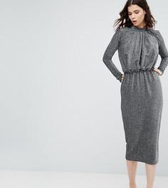 Платье-футляр с высоким воротником и присборенным лифом Y.A.S Tall Studio - Серебряный