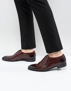 Бордовые кожаные оксфордские туфли на шнуровке HUGO - Красный