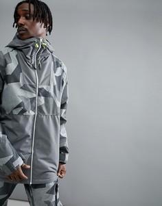 Серая горнолыжная куртка с камуфляжным принтом Wear Colour - Серый